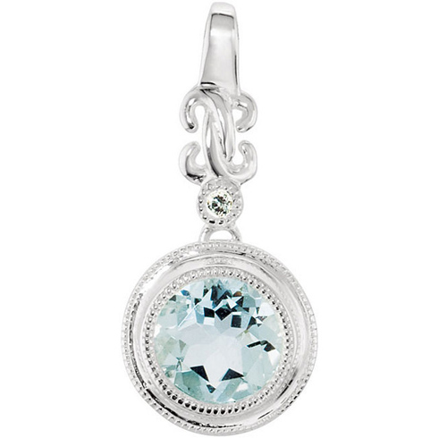 14kt White Gold 1.25 ct Fancy Aquamarine Pendant with Diamond Accent