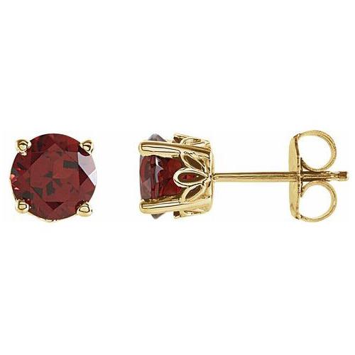 14kt Yellow Gold 6mm Mozambique Garnet Stud Earrings