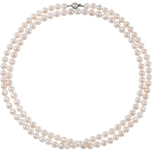 Freshwater Cultured Pearl 42in Strand Necklace Sterling Silver