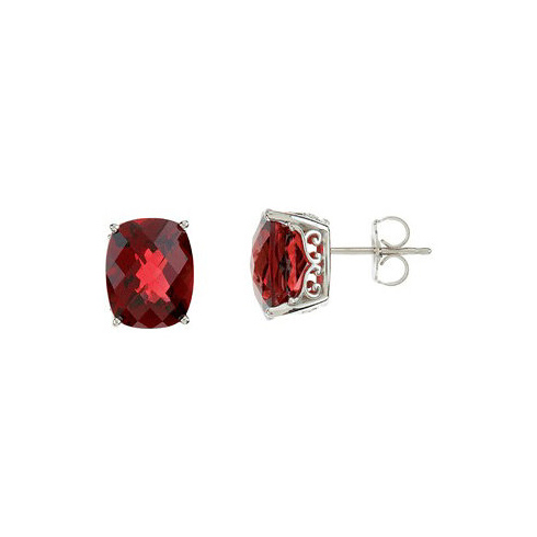 14kt White Gold 8 1/2 ct Mozambique Garnet Checkerboard Earrings