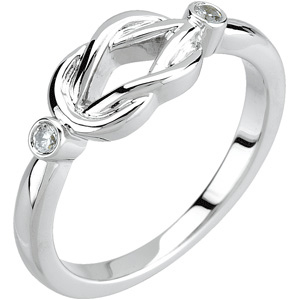 14kt White Gold Love Knot Ring with Diamond Accents