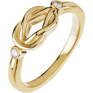 14kt Yellow Gold Love Knot Ring with Diamond Accents