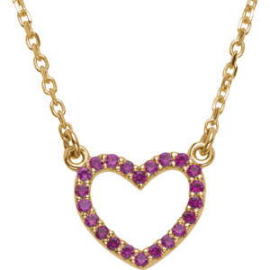 14kt Yellow Gold Genuine Ruby Heart Necklace 16in