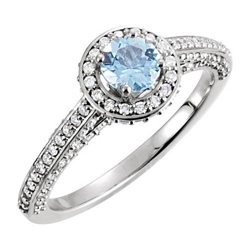14kt White Gold 1/2 ct Aquamarine and 5/8 ct Diamond Ring