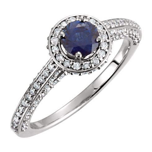 14kt White Gold 2/3 ct Sapphire and 5/8 ct Diamond Ring
