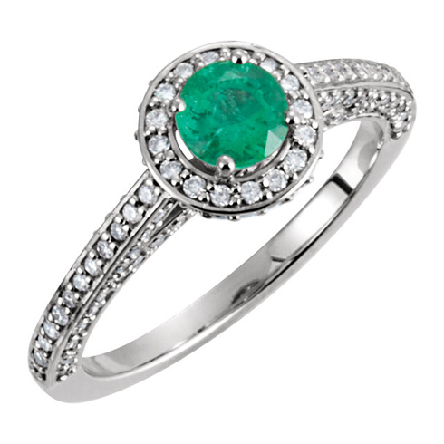 14kt White Gold .42 ct Emerald and 5/8 ct Diamond Ring