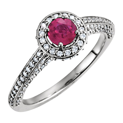 14kt White Gold 2/3 ct Ruby and 5/8 ct Diamond Ring