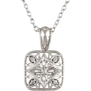 Sterling Silver .05 ct tw Diamond Vintage Square 18in Necklace