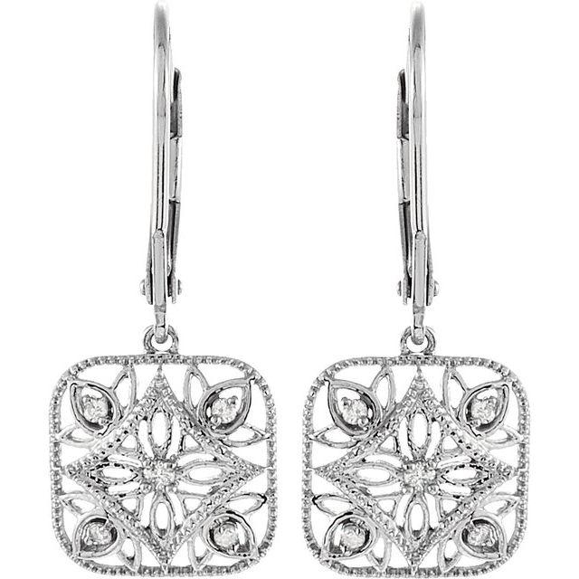 1/10 ct tw Diamond Leverback Earrings