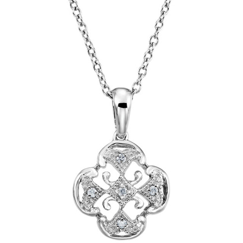 Sterling Silver .03 ct tw Diamond Vintage Clover 18in Necklace