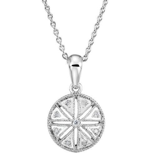 Sterling Silver .05 ct tw Diamond Wheel 18in Necklace