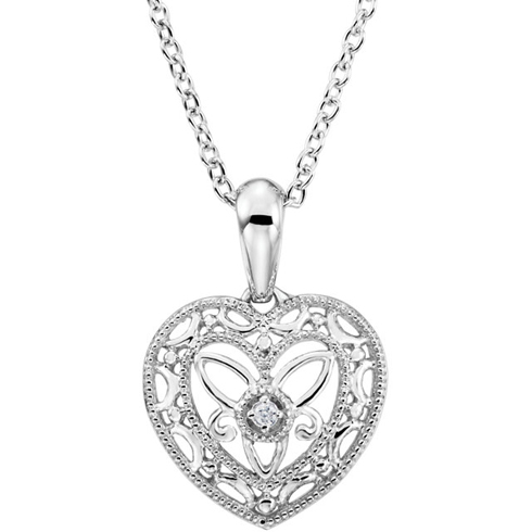 Sterling Silver .005 ct tw Diamond Heart 18in Necklace