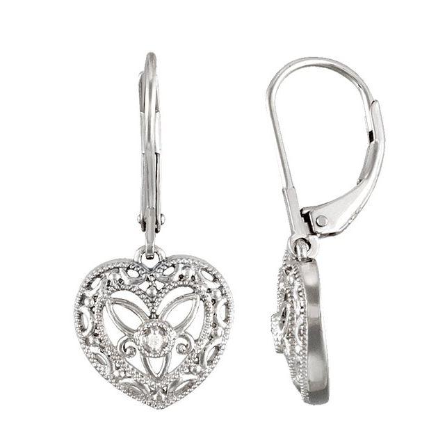 Sterling Silver .02 ct tw Diamond Heart Leverback Earrings