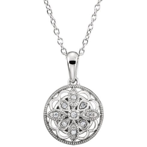 Sterling Silver .05 ct tw Diamond Vintage Style Circle 18in Necklace