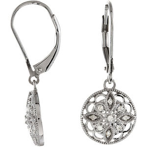 1/10 ct tw Diamond Leverback Earrings