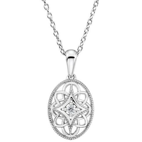 Sterling Silver .03 ct Diamond Vintage Oval 18in Necklace