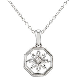 Sterling Silver .02 ct tw Diamond Framed Flower 18in Necklace