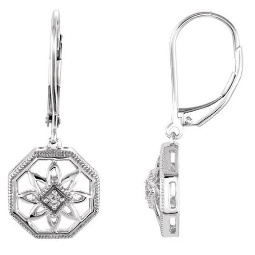 .04 ct tw Diamond Heart Leverback Earrings