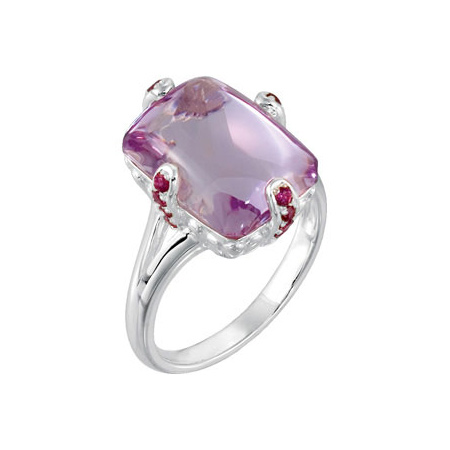 8 1/2 ct tw Rose De France Amethyst & Brazilian Garnet Ring