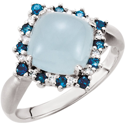 14kt White Gold 2.8 ct Milky Aquamarine Ring with London Blue Topaz and Diamond Accents