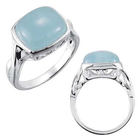 Sterling Silver 6.5 ct Milky Aquamarine Ring