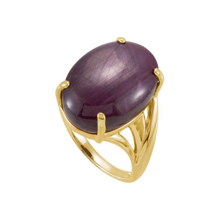 14kt Yellow Gold 19 CT Genuine Star Ruby Ring