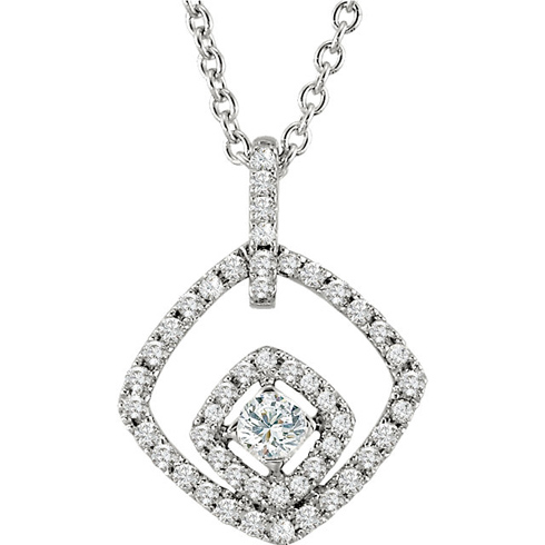14kt White Gold 1/3 ct Diamond Jessica 18in Necklace