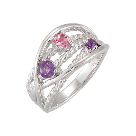 Amethyst & Pink Tourmaline Ring - Sterling Silver