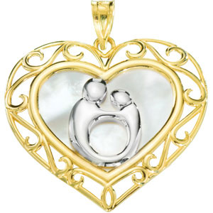 10kt Yellow Gold 1in Heart Mother & Child Pendant