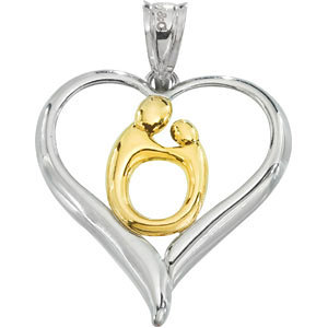 Gold-plated Sterling Silver 7/8in Mother and Child Heart Pendant