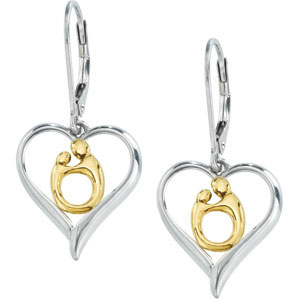 Sterling Silver and 10kt Gold Heart Shaped Mother & Child Earrings