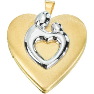 Yellow Gold Filled 3/4in Mother & Child Heart Locket