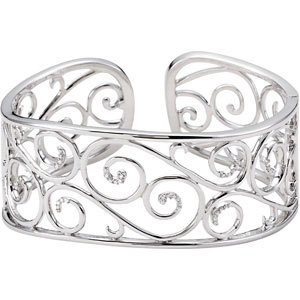 1/4 ct tw Diamond Bangle Bracelet - Sterling Silver