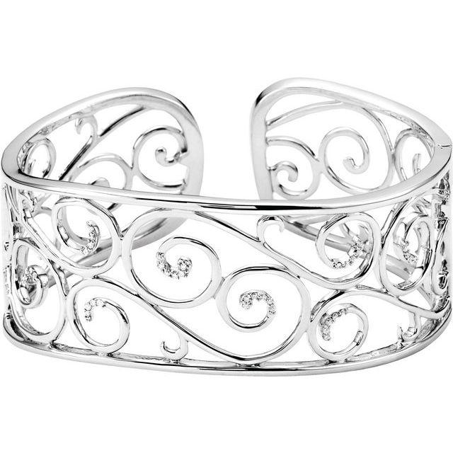 1/4 ct tw Diamond Bangle Bracelet - Sterling Silver