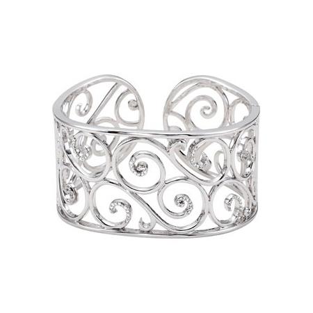 1/2 ct tw Diamond Bangle Bracelet - Sterling Silver