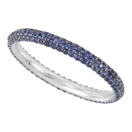 14kt White Gold 3/4 Ct Blue Sapphire Eternity Band