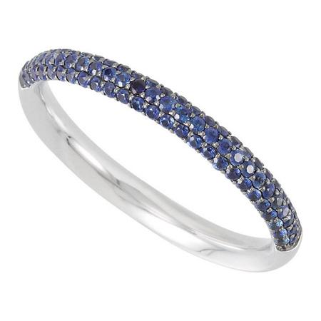 14kt White Gold 3/8 Ct Blue Sapphire Anniversary Band