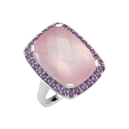 Sterling Silver 16 ct tw Rose Quartz & Amethyst Ring