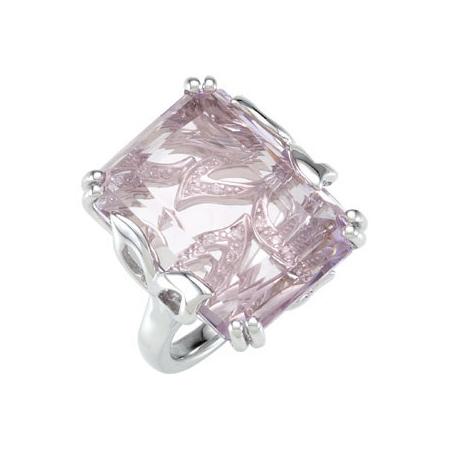 22 ct tw Rose De France Amethyst & Diamond Ring