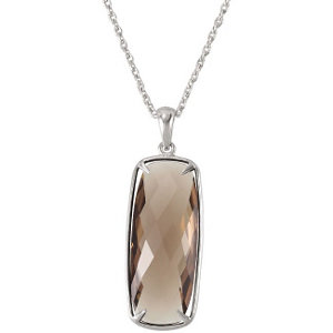 Sterling Silver 20mm Smoky Quartz Necklace