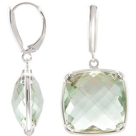 Sterling Silver 16mm Lever Back Green Quartz Earrings