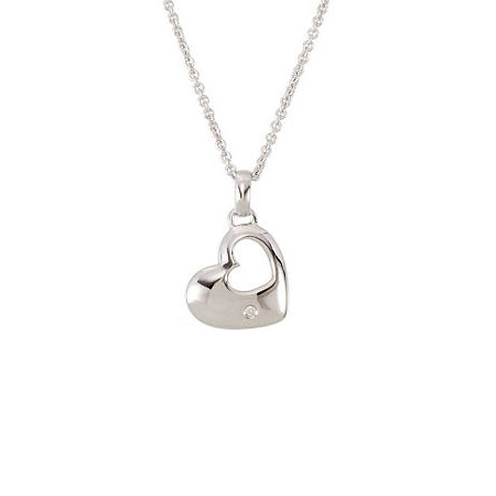Sterling Silver Diamond Cut-out Heart 18in Necklace