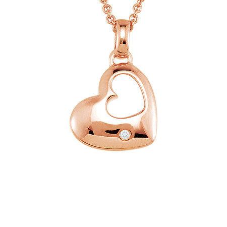 Rose Gold Plated Sterling Silver Diamond Heart 18in Necklace