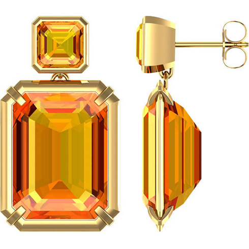 14kt Yellow Gold 21 ct tw Emerald-cut Citrine Dangle Earrings