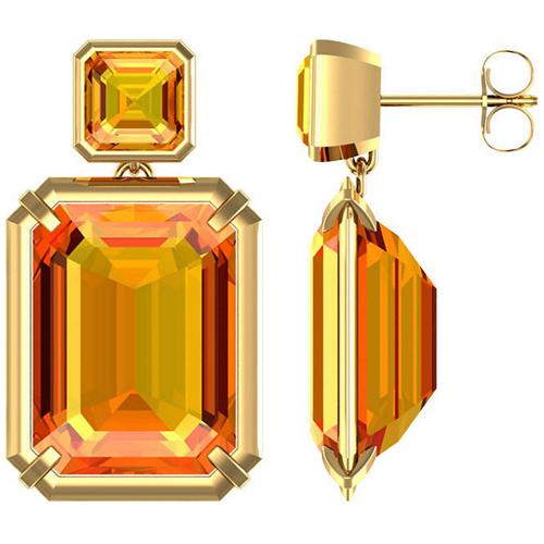 14kt Yellow Gold 21 ct tw Emerald-cut Citrine Dangle Earrings