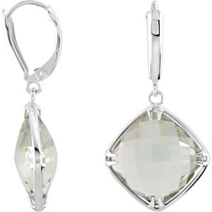 Sterling Silver 14mm Square Green Quartz Earrings