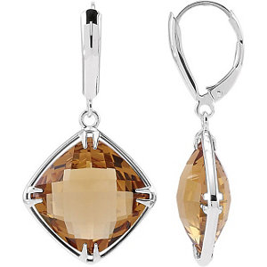 Sterling Silver 14mm Square Honey Quartz Earrings