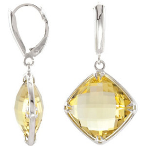 Sterling Silver 14mm Square Lemon Quartz Earrings
