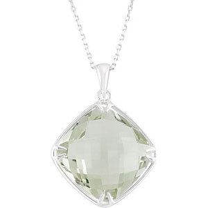 Sterling Silver 16mm Square Green Quartz Necklace