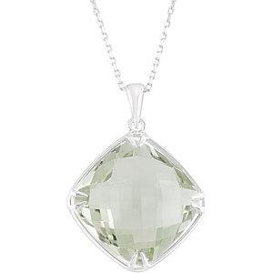 Sterling Silver 16mm Square Green Quartz Necklace